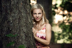 Beautiful blonde in a forest Stock Image