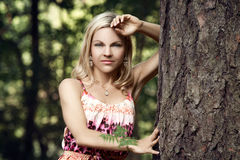 Beautiful blonde in a forest Stock Images