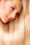 Beautiful Blonde Girl. Beautiful Blond Long Hair. Blonde Girl Close-up Portrait royalty free stock photography