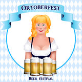 Beautiful blonde girl with a beer. Oktoberfest poster Stock Photography