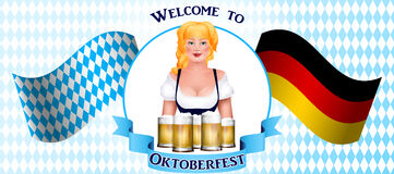Beautiful blonde girl with a beer. Oktoberfest poster Stock Images