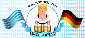 Beautiful blonde girl with a beer. Oktoberfest poster Royalty Free Stock Image
