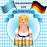 Beautiful blonde girl with a beer. Oktoberfest poster. Royalty Free Stock Photography