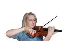 A beautiful blonde girl in black dress with red lips plays a violin Isolated image on white background royalty free stock photos