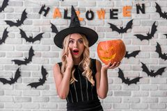 Girl ready for Halloween party stock photography