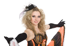 Beautiful blonde girl dancing cancan. Stock Photos
