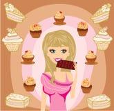 Beautiful blonde girl eating chocolate Royalty Free Stock Photos