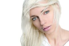 Beautiful blonde girl fashion wind long hair Royalty Free Stock Photography