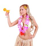 Beautiful blonde girl with Hawaiian accessories Stock Photos
