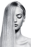 Beautiful Blonde Girl. Healthy Long Hair Stock Images