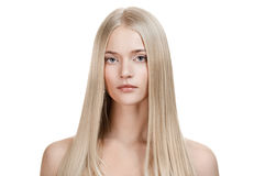 Beautiful Blonde Girl. Healthy Long Hair. Isolated stock images