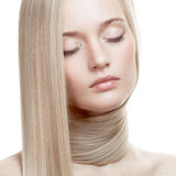 Beautiful Blonde Girl. Healthy Long Hair Royalty Free Stock Photography