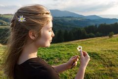 Beautiful blonde girl holding camomiles, carpathian mountains background. Stock Photos