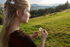 Beautiful blonde girl holding camomiles, carpathian mountains background. Royalty Free Stock Image