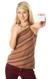 Beautiful blonde girl holding a white card. Stock Photos