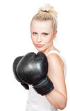 Beautiful Blonde Girl In Boxing Gloves Stock Photography