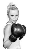 Beautiful Blonde Girl In Boxing Gloves Stock Image