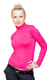 Beautiful Blonde Girl In Pink Turtleneck Royalty Free Stock Images