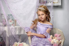 Girl in a lavender dress Royalty Free Stock Photography