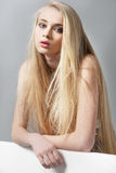 Beautiful blonde girl with long hair and green eyes. In studio stock photos