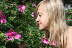 Beautiful blonde girl looks at pink flowers Royalty Free Stock Photography