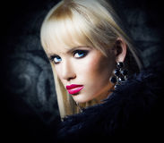 Beautiful blonde girl in luxury fur coat. Beautiful blonde woman in luxury fur coat Royalty Free Stock Photos