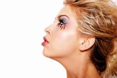 Beautiful blonde girl with makeup stock photos