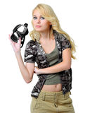 Beautiful blonde girl with a mask Royalty Free Stock Images