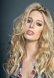 Beautiful blonde girl with messy hair Royalty Free Stock Photos