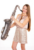 Beautiful blonde girl with a musical instrument Royalty Free Stock Photography