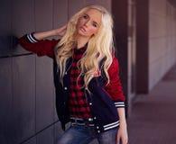 Beautiful blonde girl outdoor Royalty Free Stock Photos