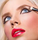 Beautiful blonde girl with perfect make up Royalty Free Stock Photography