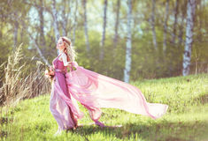 Beautiful blonde girl in a pink dress. On a long evolving nature background Stock Photo