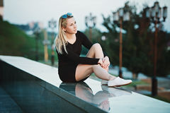 Beautiful blonde girl portrait on the street Royalty Free Stock Photography