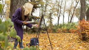 The young girl paints a picture in the autumn park. Beautiful blonde girl in the purple coat painting a picture on an easel in the autumn park near big tree royalty free stock photography