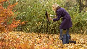 The young girl paints a picture in the autumn park. Beautiful blonde girl in the purple coat painting a picture on an easel in the autumn park near big tree stock image
