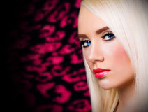 Beautiful blonde girl with red lips Royalty Free Stock Image