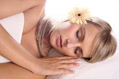 Beautiful blonde girl relaxing Royalty Free Stock Images