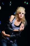 Beautiful blonde girl rocker Royalty Free Stock Photos