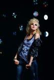 Beautiful blonde girl rocker Royalty Free Stock Photo
