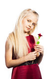 Beautiful blonde girl with rose. Isolated over white background stock photo