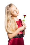 Beautiful blonde girl with rose. Isolated over white background stock image