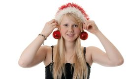 Beautiful blonde girl in a Santa hat Royalty Free Stock Photo
