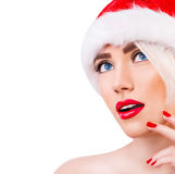 Beautiful blonde girl in santa hat Stock Photos