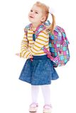 Beautiful blonde girl schoolgirl with satchel up Stock Photos