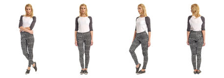 Beautiful blonde girl in sexy leggings isolated Stock Photography