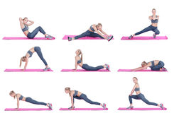 Beautiful blonde girl in sportswear does exercises on  fitness Mat on white background. Set collection. Royalty Free Stock Photo