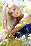 Beautiful blonde girl. Spring time Royalty Free Stock Images