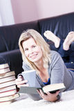 Beautiful blonde girl student. Stock Images