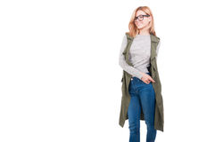 Beautiful blonde girl in stylish clothes Royalty Free Stock Image